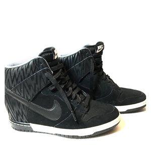 Nike Black High Top Wedge Sneakers Sz 7.5